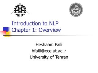 Introduction to NLP Chapter 1: Overview