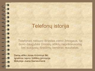 Telefonų istorija