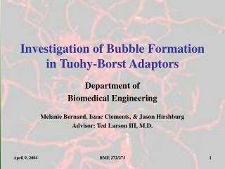 Investigation of Bubble Formation in Tuohy-Borst Adaptors