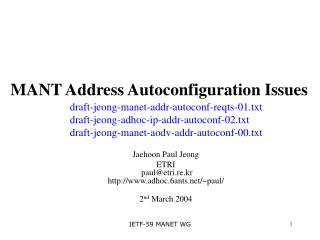 MANT Address Autoconfiguration Issues