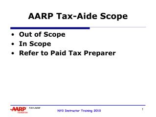 AARP Tax-Aide Scope