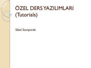 ÖZEL DERS YAZILIMLARI ( Tutorials )