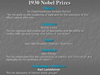 1930 Nobel Prizes