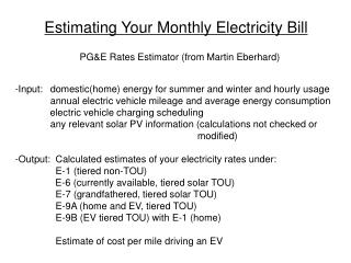 Estimating Your Monthly Electricity Bill