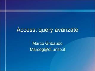 Access: query avanzate