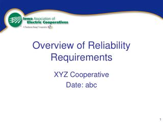 Overview of Reliability Requirements