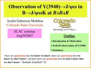 Observation of Y(3940)→J/ ψω  in B→J/ ψω K at  B A B A R