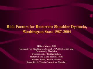 Risk Factors for Recurrent Shoulder Dystocia, Washington State 1987-2004
