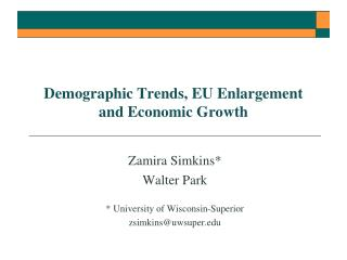 Demographic Trends, EU Enlargement and Economic Growth