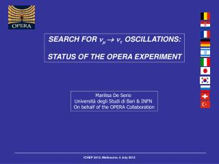 SEARCH FOR          OSCILLATIONS: STATUS OF THE OPERA EXPERIMENT