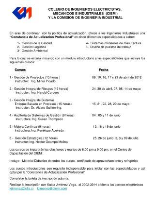 COLEGIO DE INGENIEROS ELECTRICISTAS,  MECANICOS E INDUSTRIALES  (CIEMI)