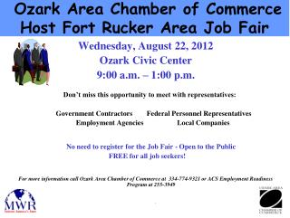 Ozark Area Chamber of Commerce Host Fort Rucker Area Job Fair