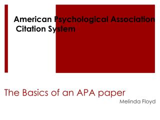 The Basics of an APA paper