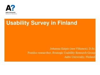 Usability Survey in Finland