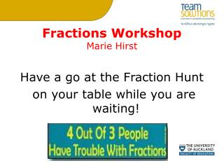 Fractions Workshop Marie Hirst
