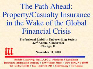 The Path Ahead: Property/Casualty Insurance in the Wake of the Global Financial Crisis