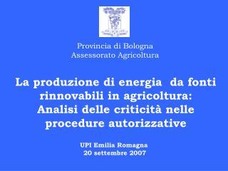Provincia di Bologna Assessorato Agricoltura