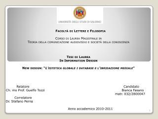 Facoltà di Lettere e Filosofia Corso di Laurea Magistrale in