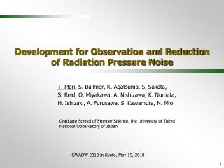 Development for Observation and Reduction  of Radiation Pressure Noise