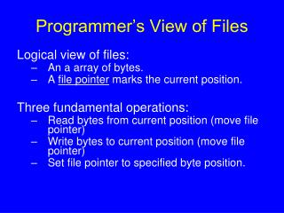 Programmer's View of Files