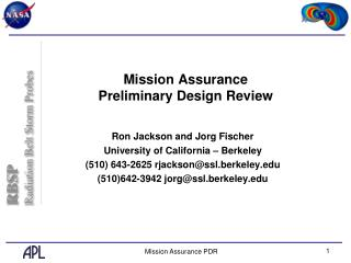 Mission Assurance Preliminary Design Review