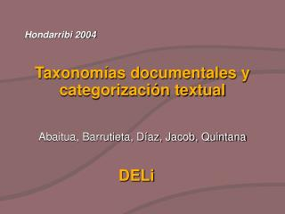 Taxonomías documentales y categorización textual