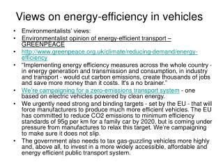 Views on energy-efficiency in vehicles