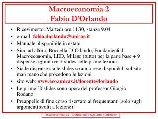 Macroeconomia 2 Fabio D'Orlando