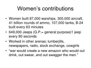 Women's contributions