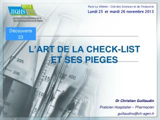 L'ART DE LA CHECK-LIST  ET SES PIEGES