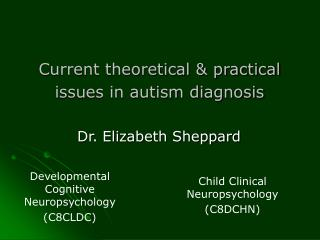 Current theoretical & practical issues in autism diagnosis