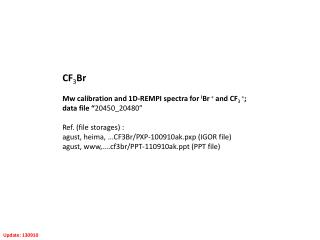 """CF 3 Br Mw calibration and 1D-REMPI spectra for  i Br  +  and CF 3  + ;  data file """" 20450_20480"""""""