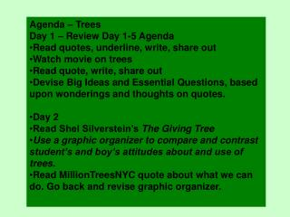 Agenda – Trees Day 1 – Review Day 1-5 Agenda Read quotes, underline, write, share out