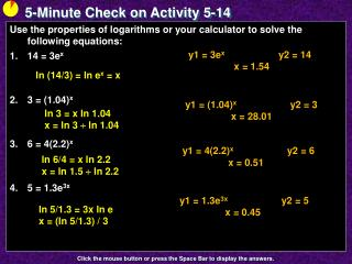 5-Minute Check on Activity  5-14