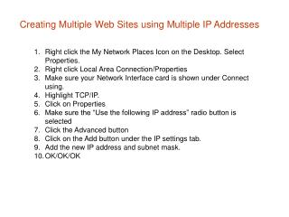 Creating Multiple Web Sites using Multiple IP Addresses