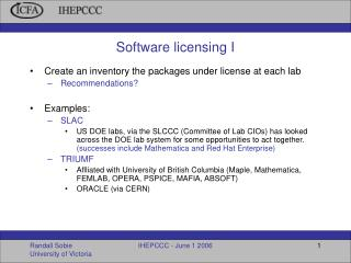Software licensing I