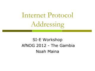 Internet Protocol Addressing