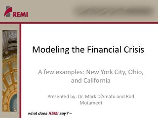 Modeling the Financial Crisis