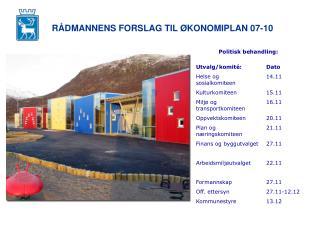 RÅDMANNENS FORSLAG TIL ØKONOMIPLAN 07-10