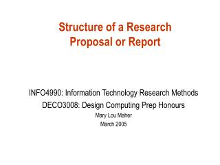 Structure of a Research  Proposal or Report