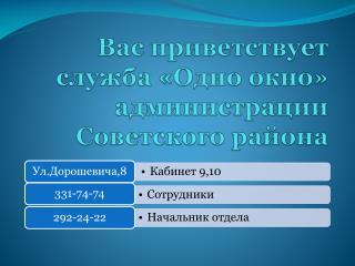 Вас приветствует служба «Одно окно» администрации Советского района