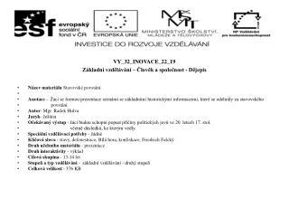 VY_32_INOVACE_22_19 Základní vzdělávání – Člověk a společnost - Dějepis