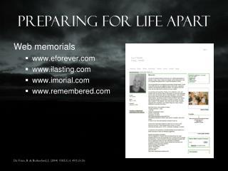 Preparing For Life Apart