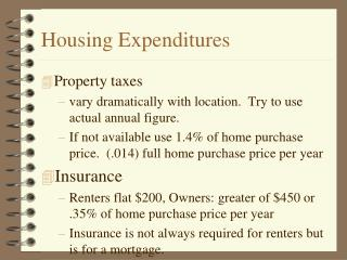 Housing Expenditures