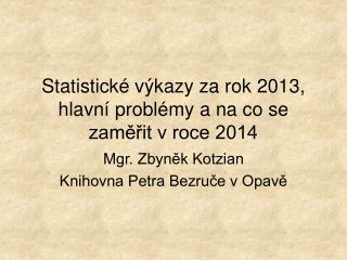 Statistické výkazy za rok 2013, hlavní problémy a na co se zaměřit v roce 2014