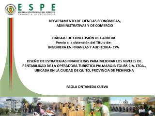 DEPARTAMENTO DE CIENCIAS ECON�MICAS, ADMINISTRATIVAS Y DE COMERCIO
