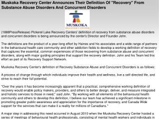 "Muskoka Recovery Center Announces Their Definition Of ""Recov"