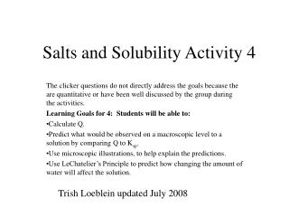Salts and Solubility Activity 4