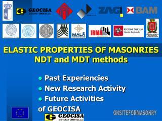ELASTIC PROPERTIES OF MASONRIES  NDT and MDT methods