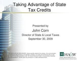 Taking Advantage of State Tax Credits